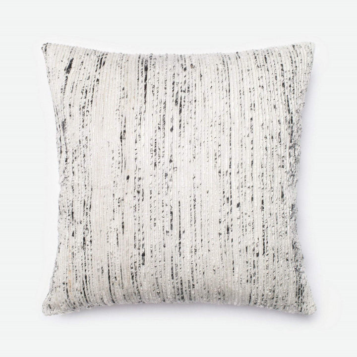 Loloi Dhurri Throw Pillow: Silver-Pillow-Parker Gwen