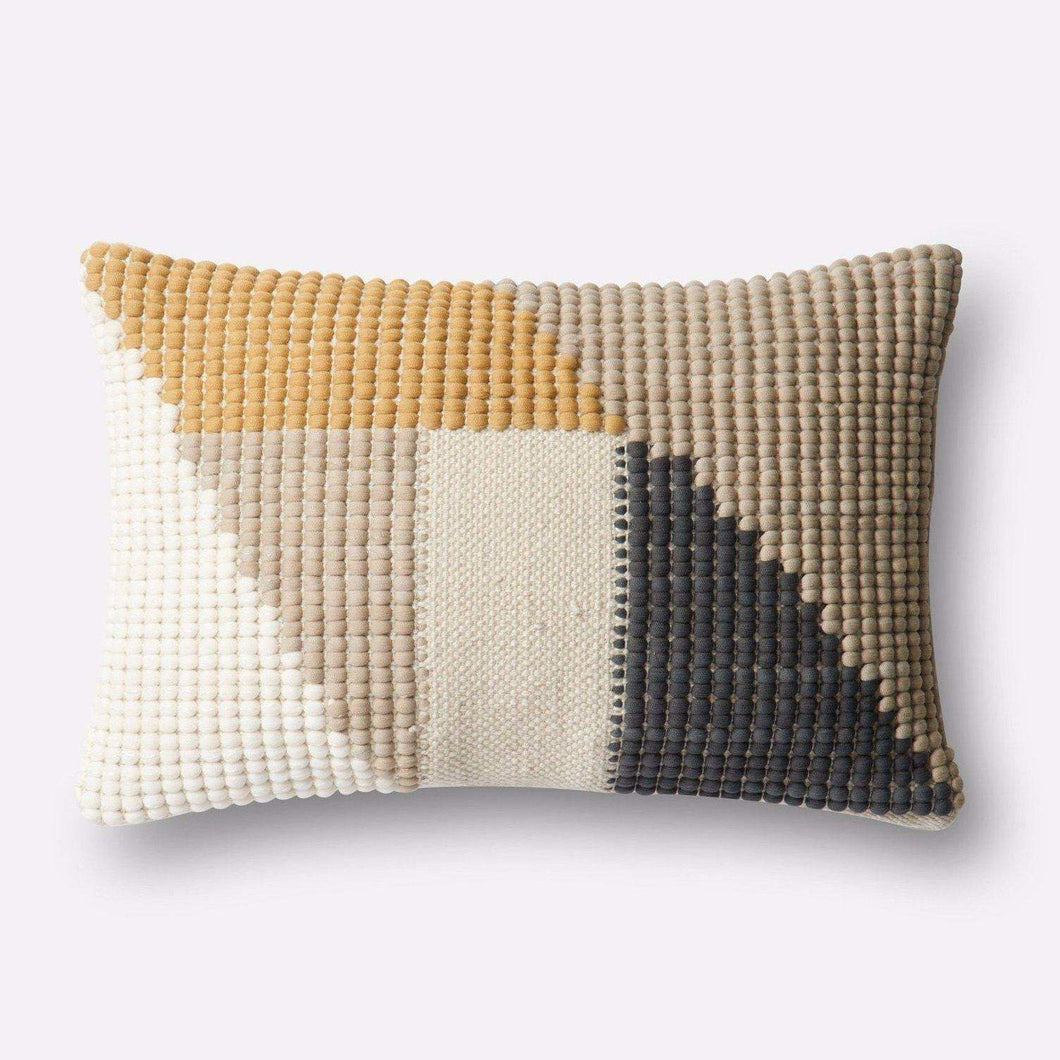 Loloi Indoor/Outdoor Geo Pattern Pillow Collection - Gold/Multi - Lumbar - Parker Gwen