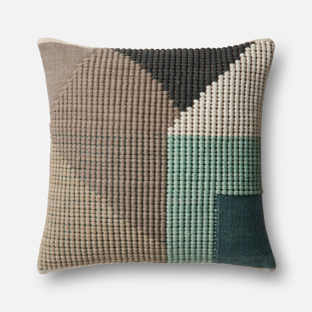 Loloi Indoor/Outdoor Geo Pattern Pillow Collection - Teal/Multi - Parker Gwen