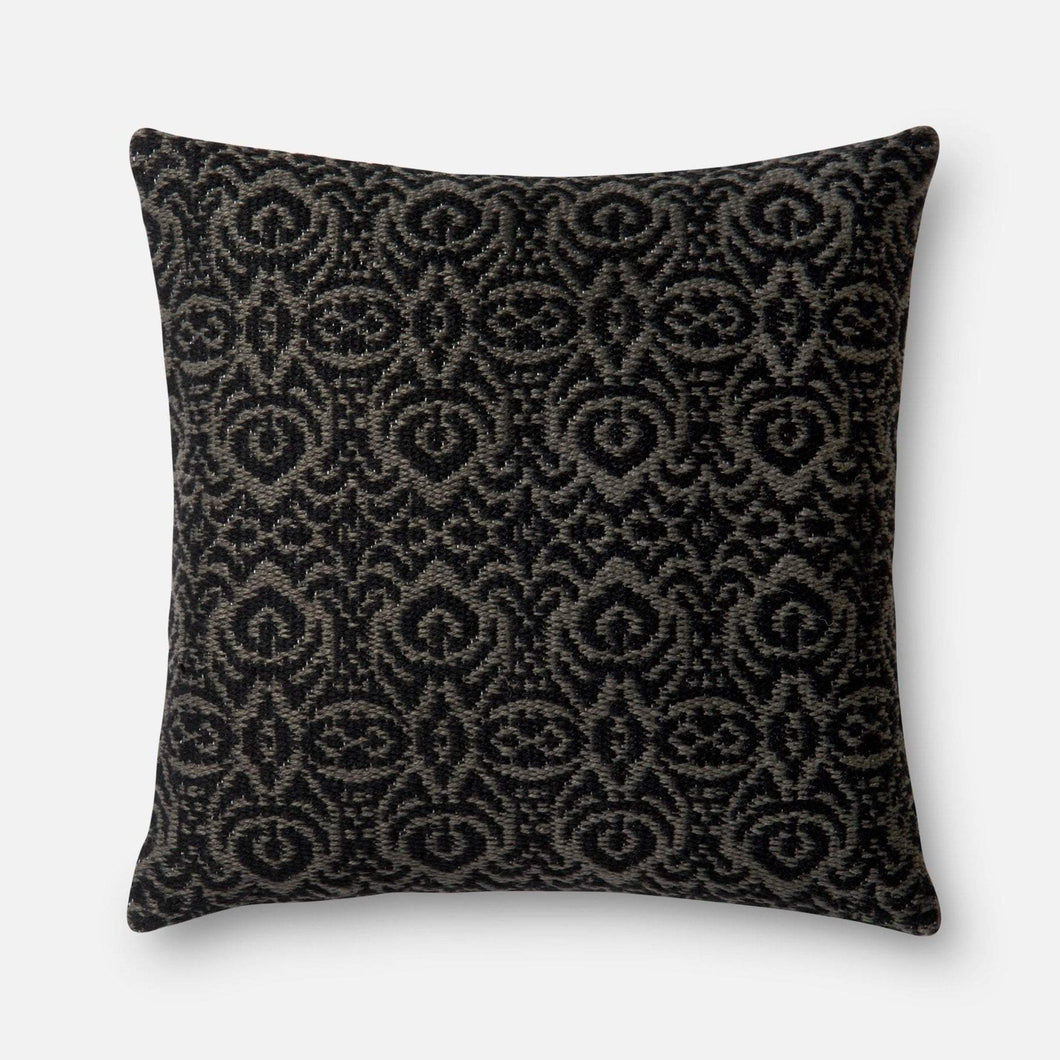 Loloi Indoor/Outdoor Pillow Collection - Black/Grey I-Outdoor Pillow-Parker Gwen