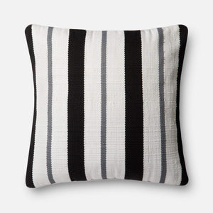 Loloi Indoor/Outdoor Pillow Collection - Black/Grey-Outdoor Pillow-Parker Gwen