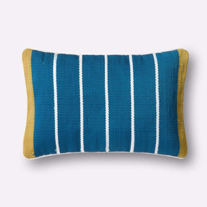 Loloi Indoor/Outdoor Pillow Collection - Blue/Green - Lumbar-Outdoor Pillow-Parker Gwen
