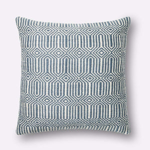 Loloi Indoor/Outdoor Pillow Collection - Blue/Ivory-Outdoor Pillow-Parker Gwen