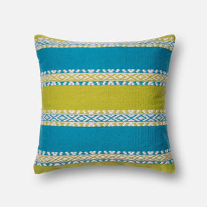 Loloi Indoor/Outdoor Pillow Collection - Green/Blue-Outdoor Pillow-Parker Gwen