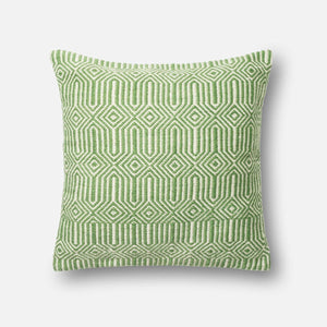 Loloi Indoor/Outdoor Pillow Collection - Green/Ivory-Outdoor Pillow-Parker Gwen