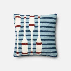 Loloi Indoor/Outdoor Pillow Collection - Navy/Red-Outdoor Pillow-Parker Gwen