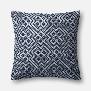 Loloi Indoor/Outdoor Pillow Collection - Navy/White-Outdoor Pillow-Parker Gwen