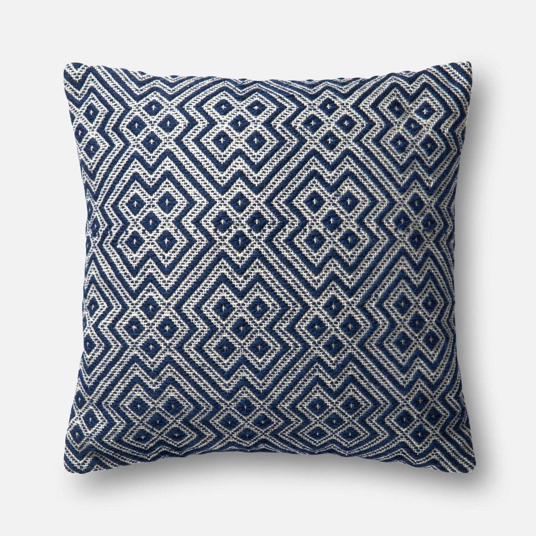 Loloi Indoor/Outdoor Pillow Collection - Navy/White - Parker Gwen