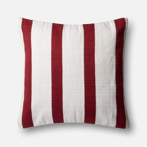 Loloi Indoor/Outdoor Pillow Collection - Red/Ivory I-Outdoor Pillow-Parker Gwen