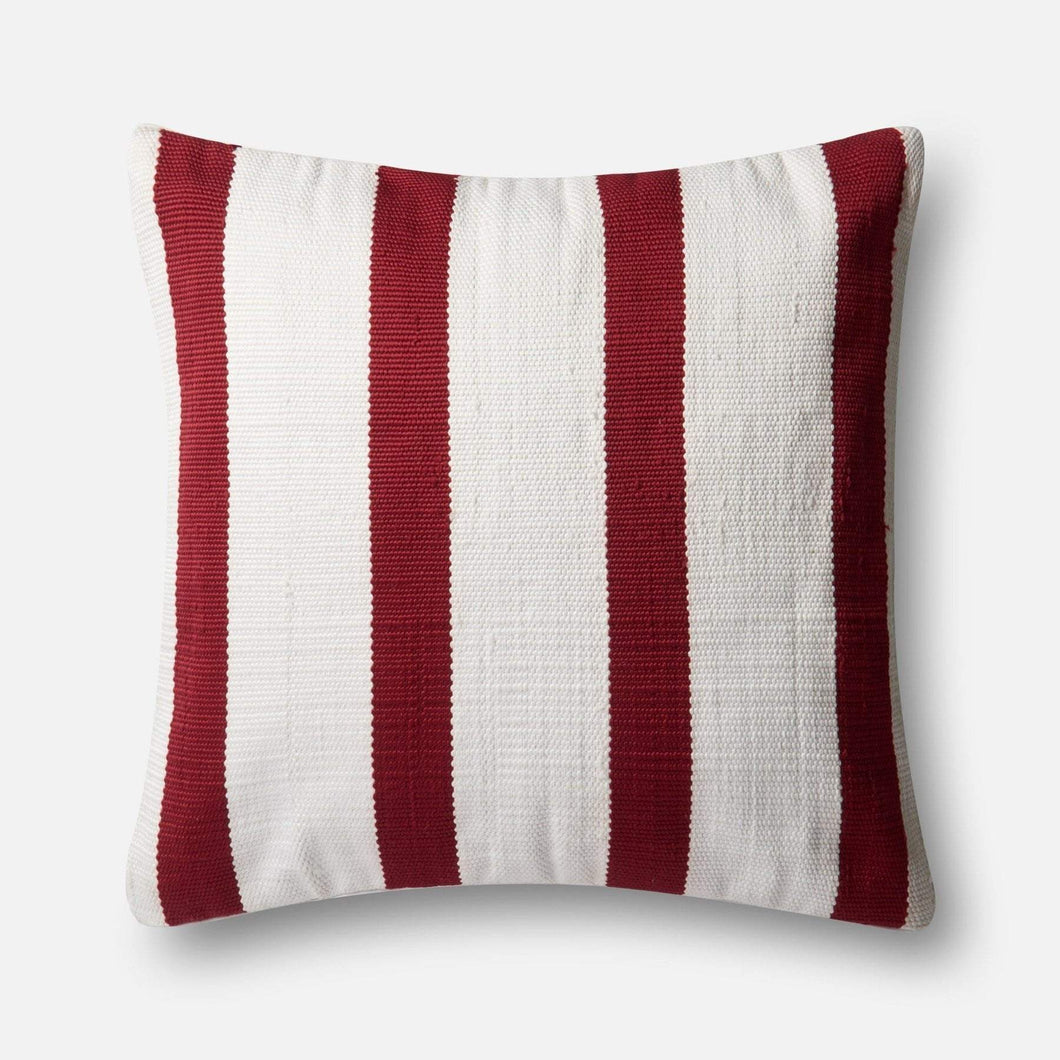 Loloi Indoor/Outdoor Pillow Collection - Red/Ivory I - Parker Gwen