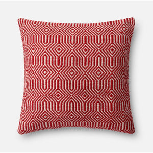 Loloi Indoor/Outdoor Pillow Collection - Red/Ivory-Outdoor Pillow-Parker Gwen