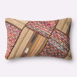 Loloi Patchwork Pillow Collection - Wool/Multi - Lumbar - Parker Gwen