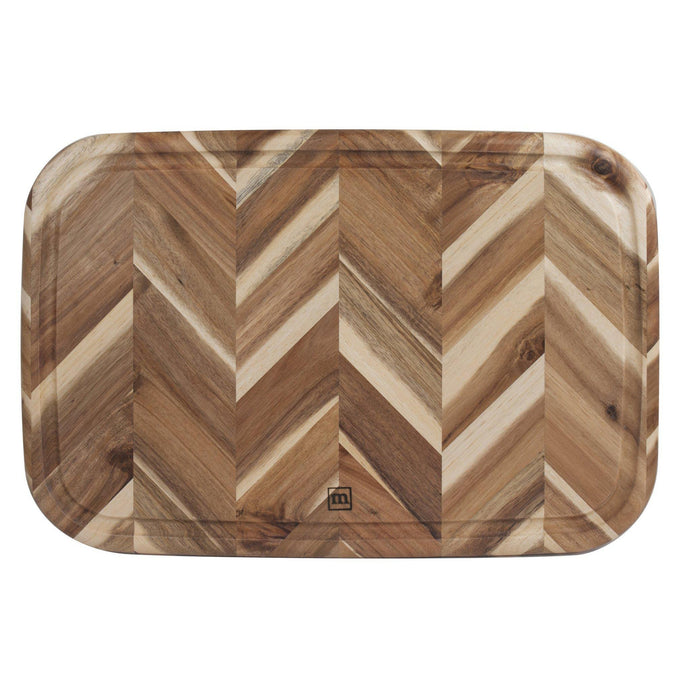 Madeira HERRINGBONE ACACIA Cutting BOARD WITH GROOVE: 13 X 19-Cutting Board-Parker Gwen