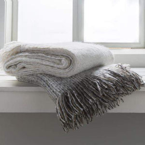 "Madurai Woven Fringe Edge Acrylic Throw Blanket 50"" x 60"" (White) - Parker Gwen"