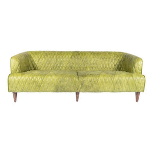"MAGDELAN TUFTED LEATHER 79"" SOFA (EMERALD) 