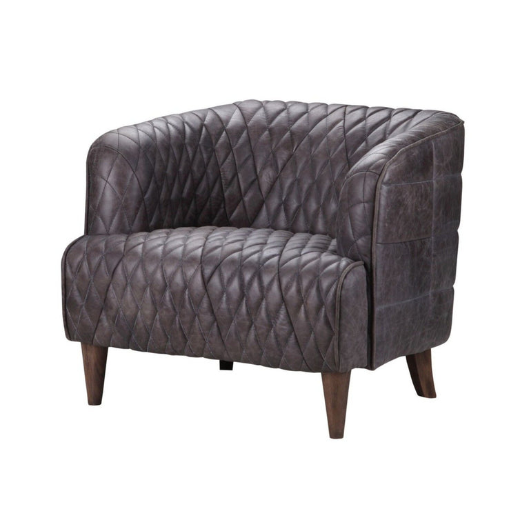 MAGDELAN TUFTED LEATHER ARM CHAIR ANTIQUE EBONY | Accent Chair | parker-gwen
