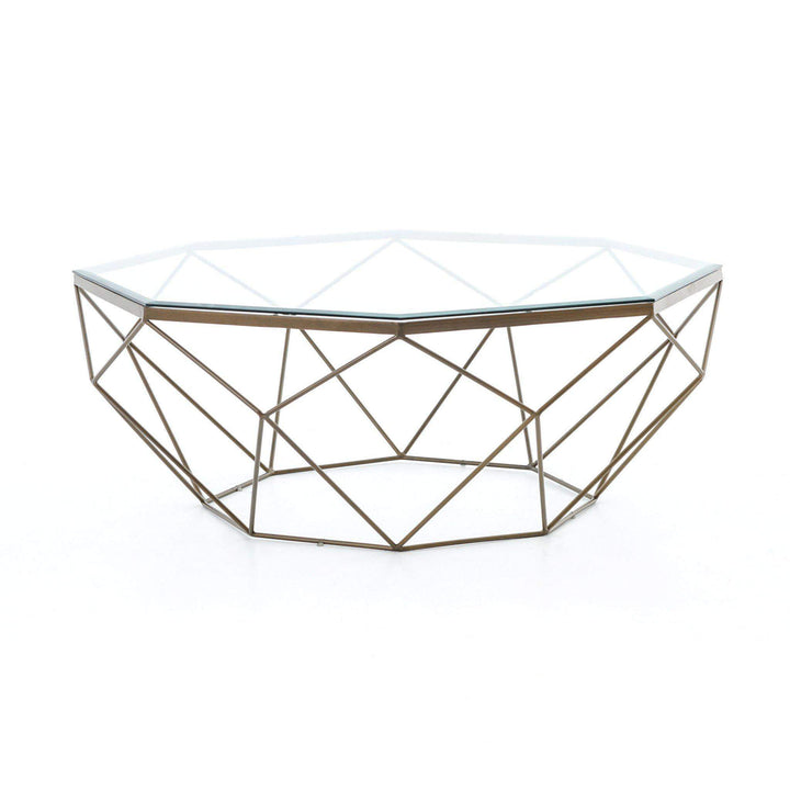 Marlow Collection Geometric Coffee Table: Antique Brass-Coffee Table-Parker Gwen