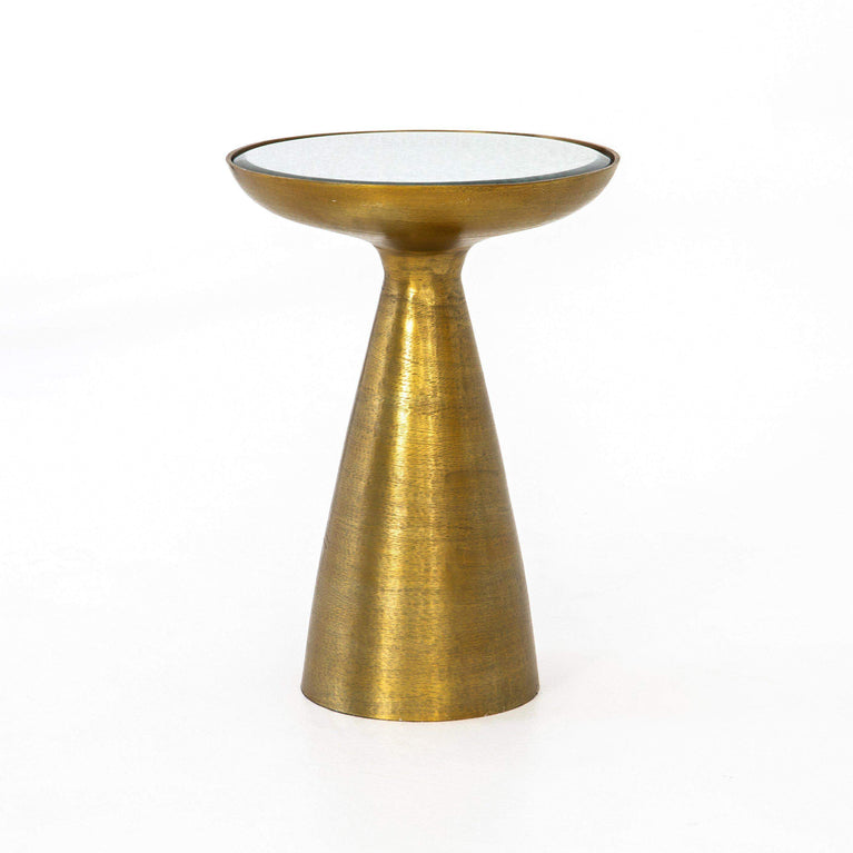 Marlow Collection Mod Pedestal Table: Brushed Brass - Parker Gwen