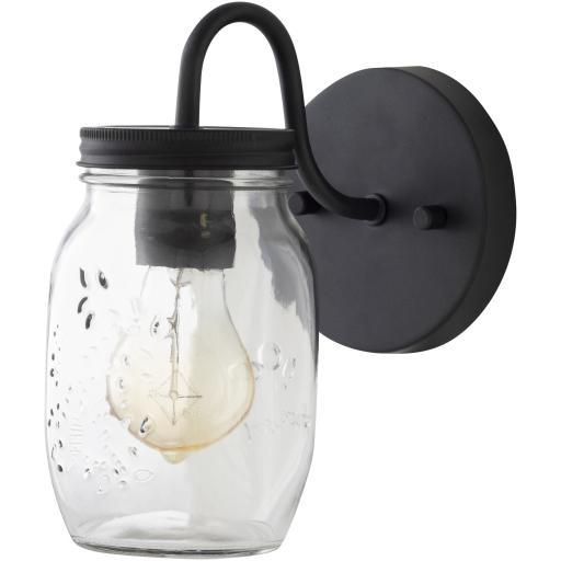 Matthew Black Clear Powder Coated Translucent Glass Wall Sconce | Sconce | parker-gwen