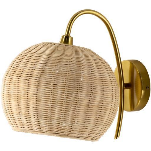 Willa Gold Natural Finish Plated Metal Rattan Wall Sconce | Sconce | parker-gwen