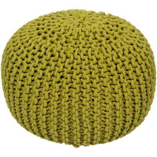 Malmo Knitted Cotton Pouf (Lime) - Parker Gwen