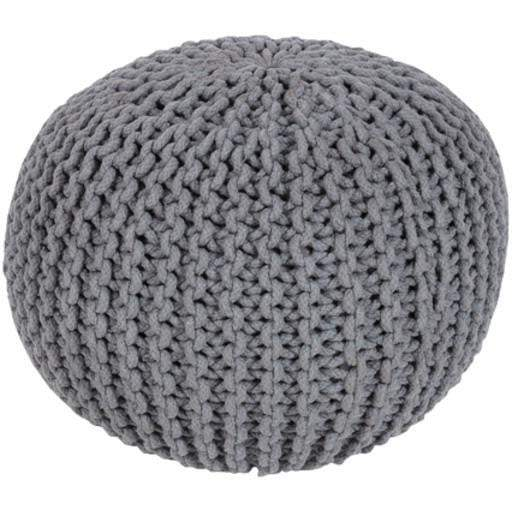 Malmo Knitted Cotton Pouf (Gray) - Parker Gwen
