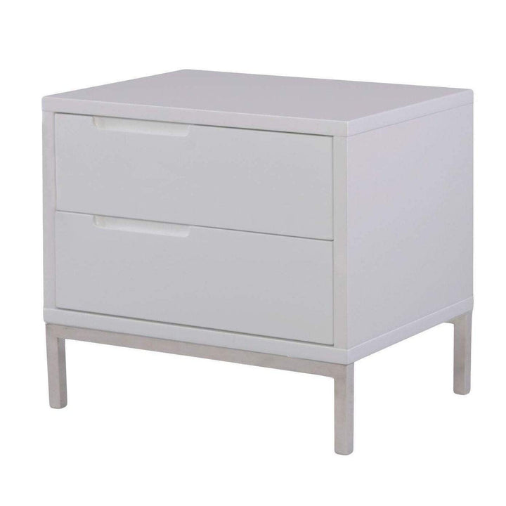 NAPLES SIDE TABLE WHITE-Nightstand-Parker Gwen