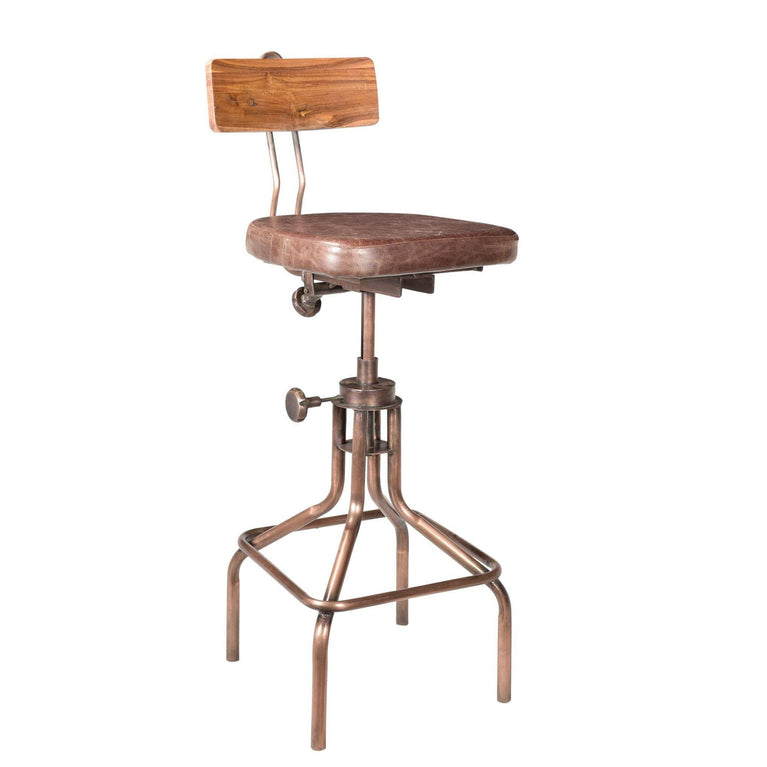 National Industrial Leather Adjustable Height Stool - Parker Gwen