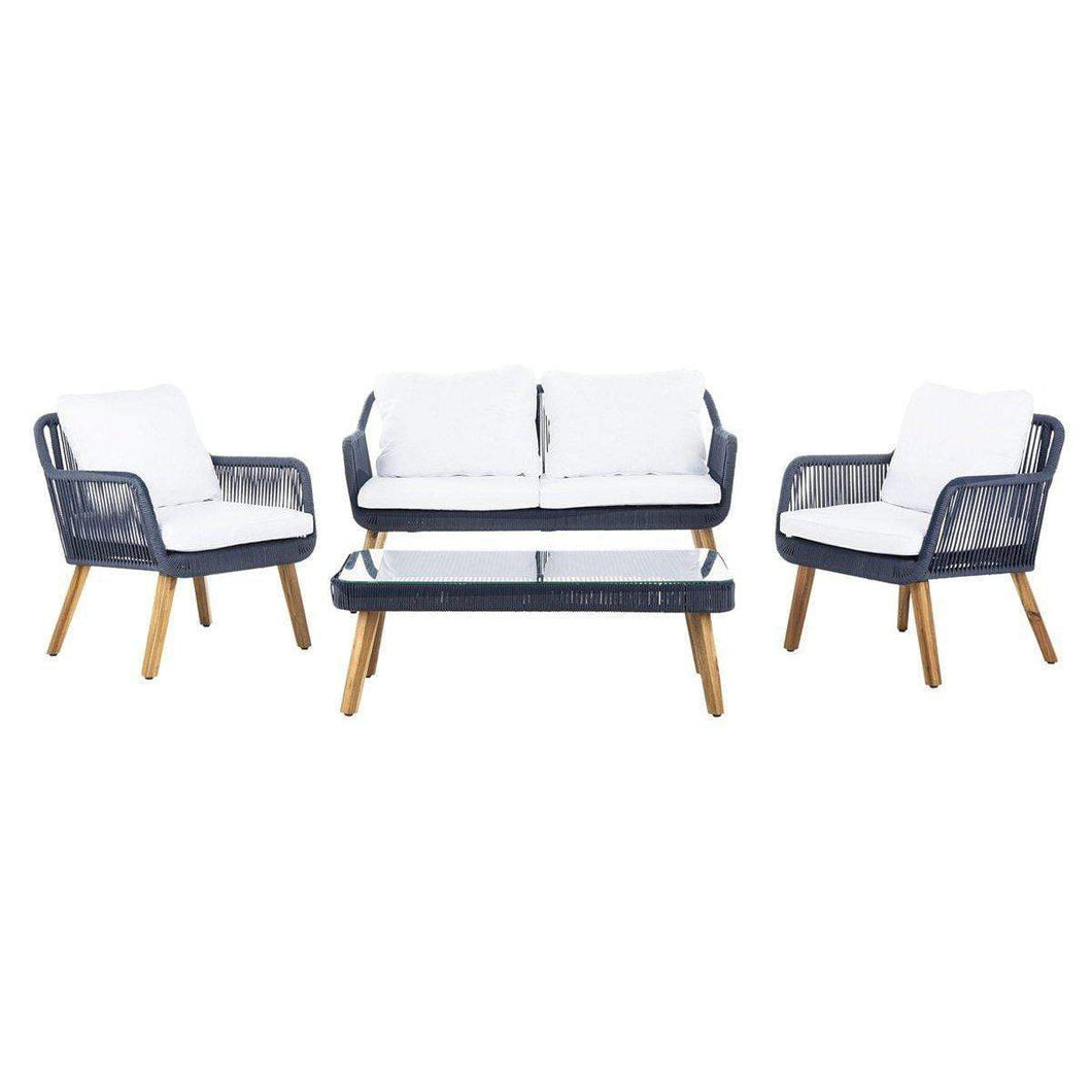 Aldric 4 Piece Outdoor Lounge Patio Set (Navy) - Parker Gwen