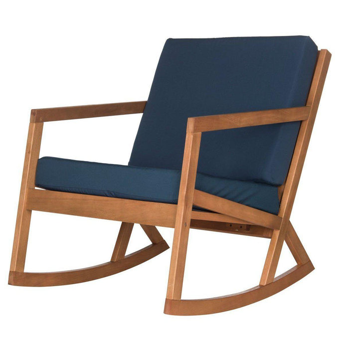 The Hank Outdoor Cushioned Rocking Chair (Natural/Blue) | Outdoor Lounging | parker-gwen
