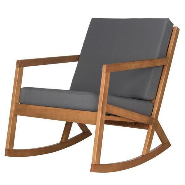 The Hank Outdoor Cushioned Rocking Chair (Natural/Grey) | Outdoor Lounging | parker-gwen