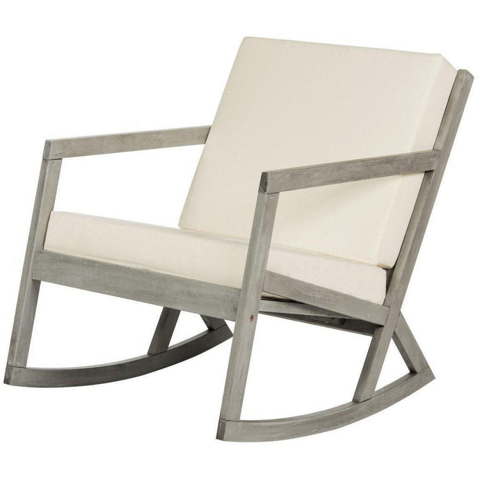 The Hank Outdoor Cushioned Rocking Chair (Gray/Beige) | Outdoor Lounging | parker-gwen