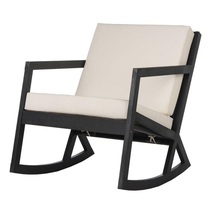 The Hank Outdoor Cushioned Rocking Chair (Black/White) | Outdoor Lounging | parker-gwen