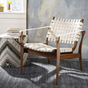 Dilan Leather Safari Accent Chair (White / Light Brown) - Parker Gwen
