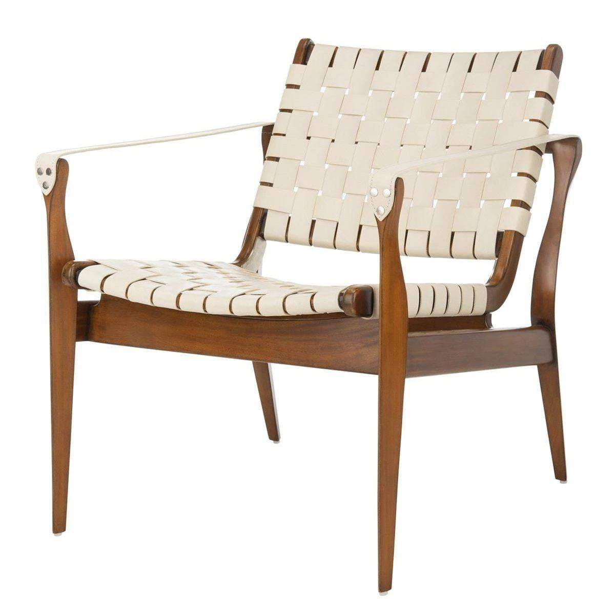 Dilan Leather Safari Accent Chair (White / Light Brown)