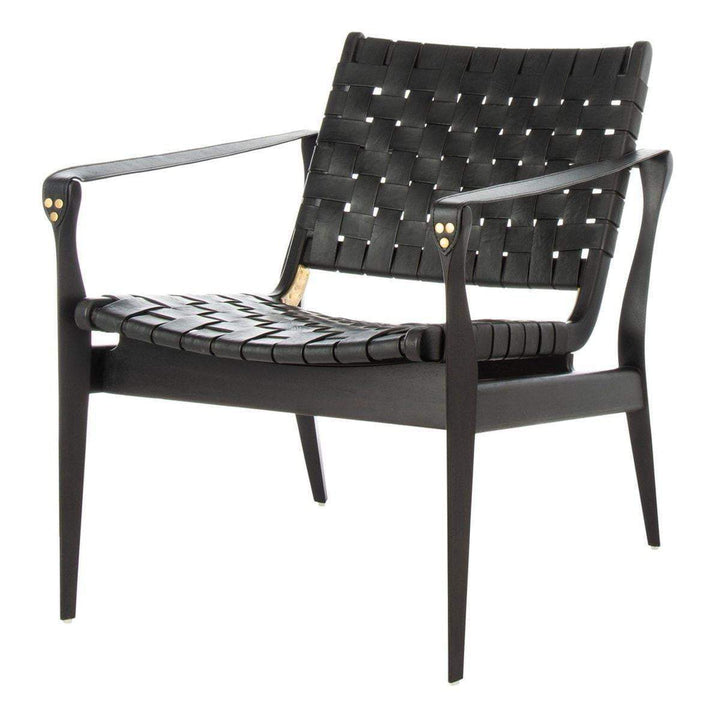 Dilan Leather Safari Accent Chair (Black / Black) - Parker Gwen