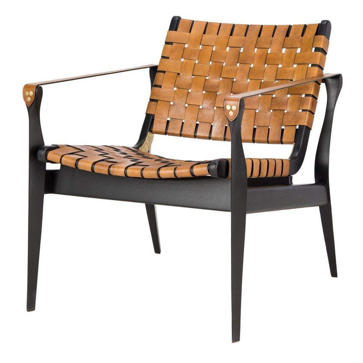 Dilan Leather Safari Accent Chair (Brown / Black) - Parker Gwen