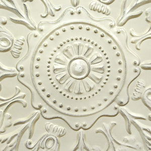 Shabby White Medallion Wall Décor-Wall Accent-Parker Gwen