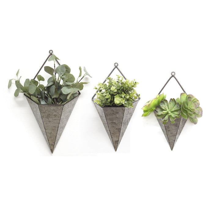 Stratton Home Decor 3pc. Triangular Galvanized Wall Planters-Pot & Planter-Parker Gwen