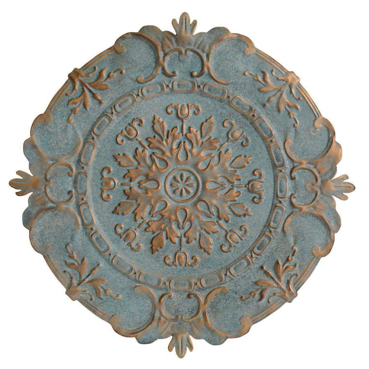 "Blue & Bronze 31"" European Metal Wall Medallion - Parker Gwen"