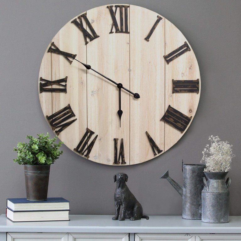 "Distressed Hand Crafted White Wood 28"" Wall Clock - Parker Gwen"