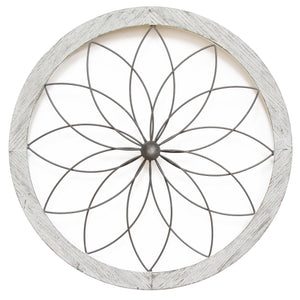 Stratton Home Decor Flower Metal and Wood Art Deco Wall Decor | Wall Accent | parker-gwen