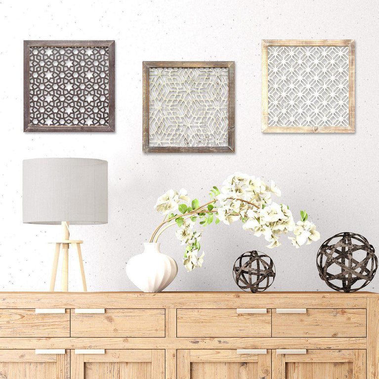 Stratton Home Decor Framed Laser-Cut Wall Décor (1pc): Distressed Grey | Wall Accent | parker-gwen