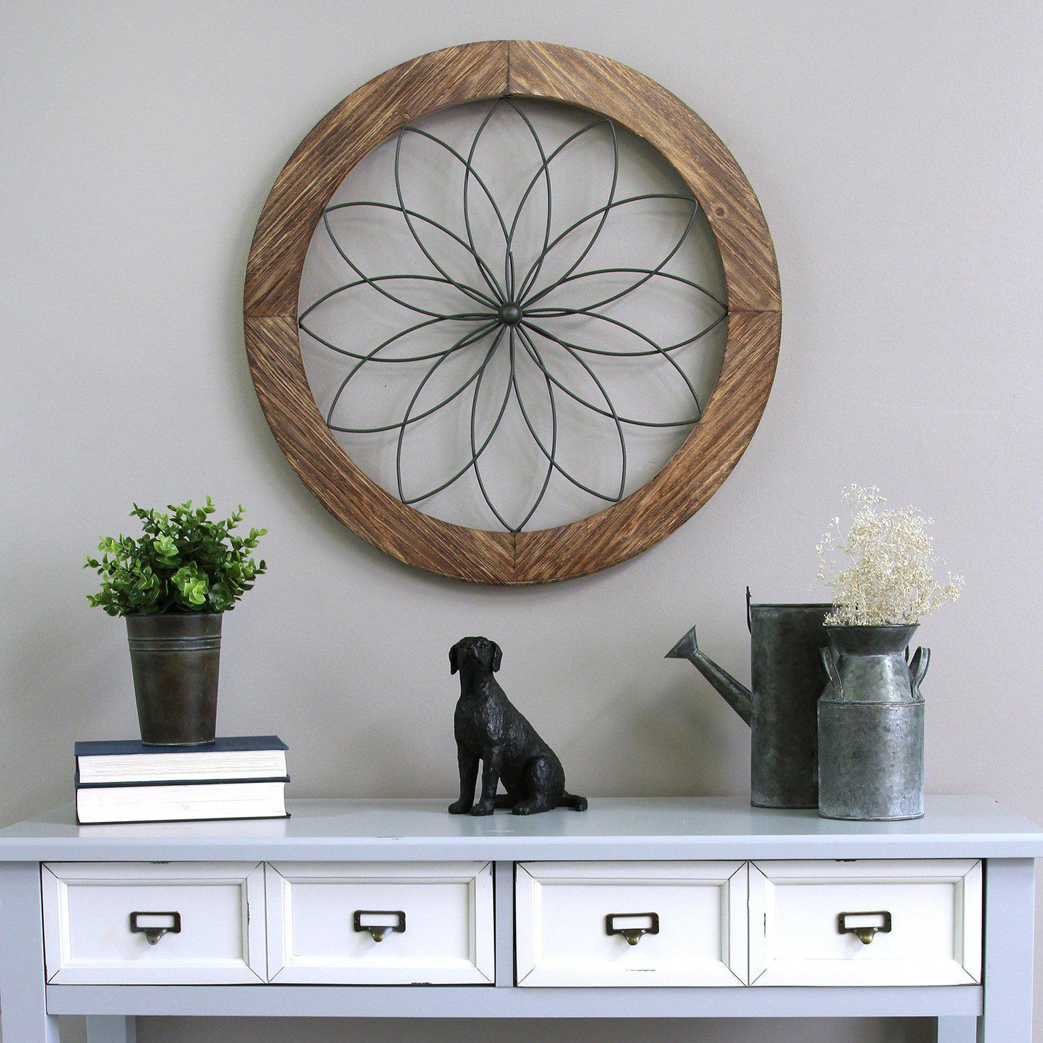 Stratton Home Decor Round Wood And Metal Medallion Wall Decor