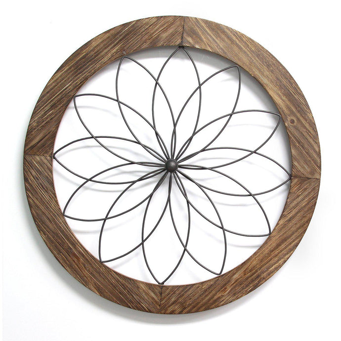 Stratton Home Décor Round Wood and Metal Medallion Wall Decor-Wall Accent-Parker Gwen