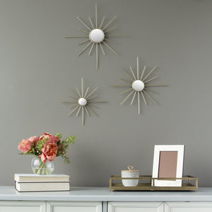 Stratton Home Decor Set of 3 Gold Mirror Burst Wall Decor | Mirror Art | parker-gwen