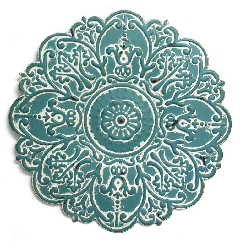 "Small 13"" Blue Metal Wall Medallion Wall Decor - Parker Gwen"