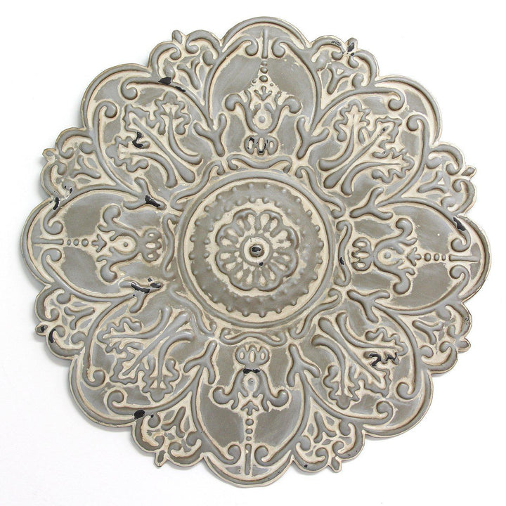 Stratton Home Decor Small Grey Medallion Wall Decor-Wall Accent-Parker Gwen