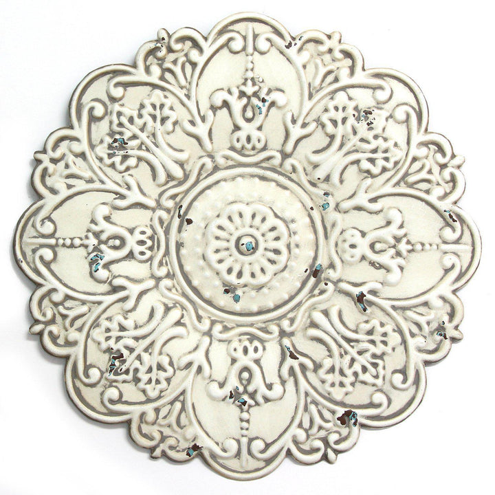 Stratton Home Decor Small White Medallion Wall Decor | Wall Accent | parker-gwen