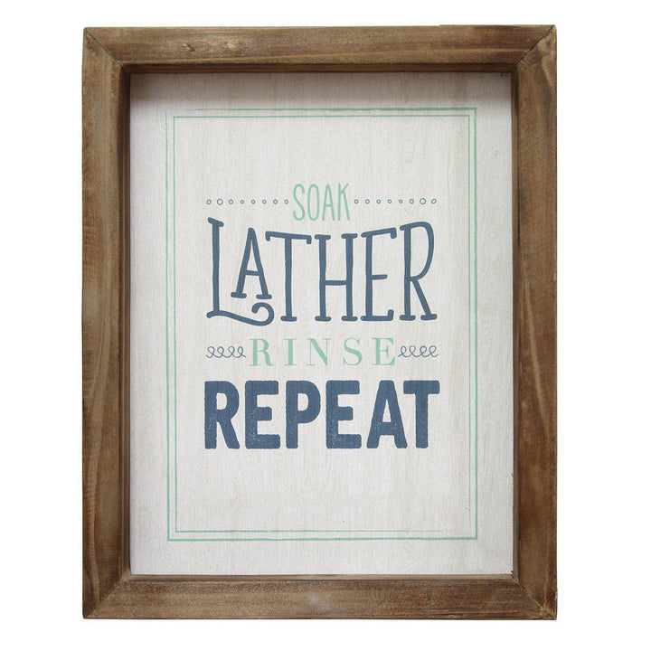 "Stratton Home Decor ""Soap Lather Rinse Repeat"" Wall Art 